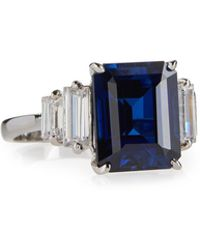 Fantasia by Deserio - Emerald-cut Simulated Sapphire Cocktail Ring - Lyst