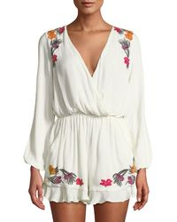 Lovers + Friends - Adriana Floral-embroidered Split-sleeve Romper - Lyst