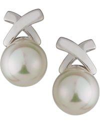 Majorica - Rhodium-plated Pearl X Stud Earrings - Lyst