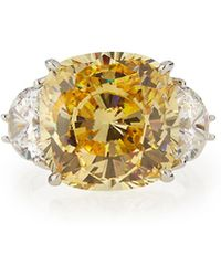Fantasia by Deserio - Cushion-cut Canary Cz Cocktail Ring - Lyst