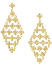 Freida Rothman - Floral Cubic Zirconia Kite Earrings - Lyst