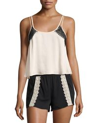 Underella By Ella Moss - Leighton Lace-trim Crop Lounge Top - Lyst