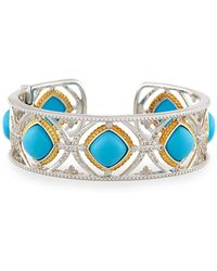 Jude Frances - Cushion Turquoise & Diamond Cuff - Lyst