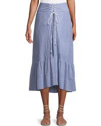 T Tahari - Tie-front Striped Cotton Midi Skirt - Lyst