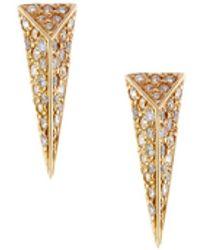 Mimi So - Wonderland 18k Yellow Gold Pave Diamond Stinger Stud Earrings - Lyst