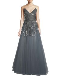 Oscar de la Renta - Plunging Sequin-fringe Ball Gown - Lyst