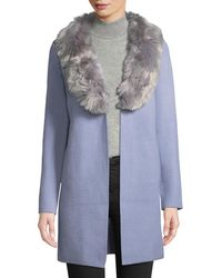 Love Token - Knit Cardigan W/ Faux Fur Collar - Lyst