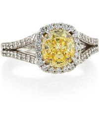 Fantasia by Deserio - Split-shank Pave Cushion-cut Ring Canary - Lyst