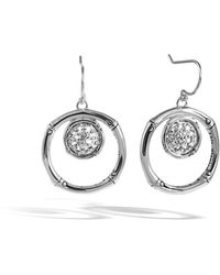 John Hardy - Bamboo Lava Silver Drop Earrings W/ White Topaz - Lyst