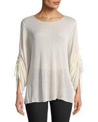 Dex - Gathered-sleeve Waffle-knit Blouse - Lyst