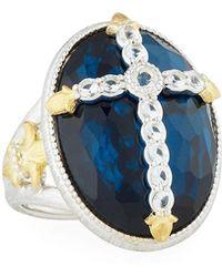 Jude Frances - Oval Quartz & Pyrite Cocktail Ring W/ Pave Fleur Cross Size 6.5 - Lyst