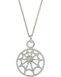 Roberto Coin - 18k White Gold Diamond Web Necklace - Lyst