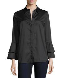 Go> By Go Silk Ruffle-sleeve Cotton Shirt Petite