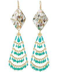 Devon Leigh - Turquoise & Pearly Chandelier Earrings - Lyst