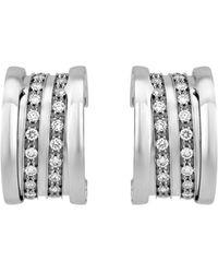 BVLGARI - Estate B.zero1 18k White Gold Pave Diamond Hoop Earrings - Lyst
