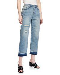 Karen Millen - Released-hem Boyfriend Jeans - Lyst