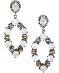 Bavna | Open Chalcedony & Diamond Drop Earrings | Lyst