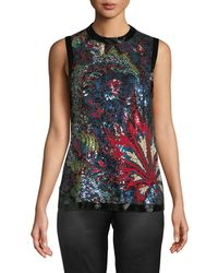 Roberto Cavalli - Sequin-embroidered Silk Blouse - Lyst