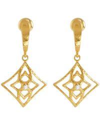 Gurhan | 22k Pointelle Diamond Drop Earrings | Lyst