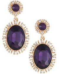 Lydell NYC - Crystal Oval Drop Earrings - Lyst