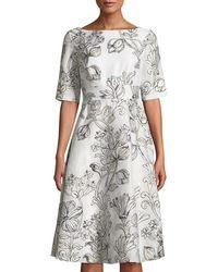 Lela Rose - Floral Matelasse Elbow-sleeve Dress - Lyst
