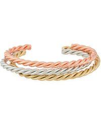 A.V. Max - Tricolor Golden Twist Cuff Bracelets Set Of 3 - Lyst