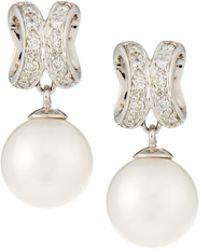 Belpearl - 14k White Gold Diamond Curved & Pearl Drop Earrings - Lyst