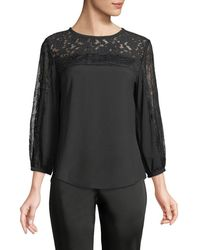 Karl Lagerfeld - 3/4-sleeve Lace Trim Blouse - Lyst