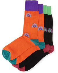 Punto - Two-pair Peacock-print Socks - Lyst
