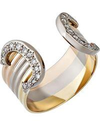 Cartier - 18k Tri-color Double-c Ring W/ Diamonds - Lyst