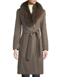 Ellen Tracy - Fox-fur Collar Slick Wool Wrap Coat - Lyst