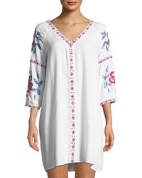 Raj - Embroidered V-neck Shift Dress - Lyst