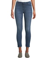 Brockenbow - Reina Cropped High-waist Piped Skinny Jeans - Lyst