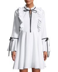 Haute Rogue - Polly Tie-neck Ruffled Shift Dress - Lyst