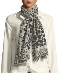 Neiman Marcus - Animal Print Sheer Wool Scarf - Lyst