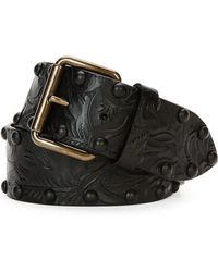 Tomas Maier - Tooled Leather Belt W/studs - Lyst