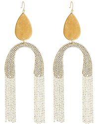 Serefina - Upside Down Fringe Earrings White - Lyst