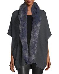 Metric Knits - Faux Fur-trim Cardigan - Lyst