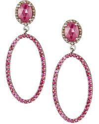 Bavna - Black Silver Open Oval Drop Earrings With Ruby & Diamonds - Lyst