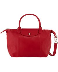 Longchamp - Le Pliage Cuir Small Leather Top-handle Bag With Strap - Lyst