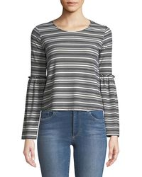 Love, Fire - Striped Ribbed-knit Bell-sleeve Blouse - Lyst