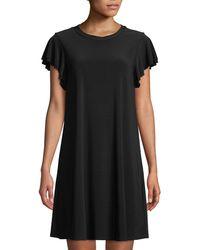 Neiman Marcus - Flutter-sleeve Jersey A-line Dress - Lyst