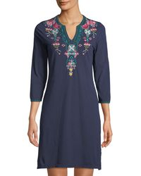 Johnny Was - Floral Embroidery 3/4-sleeve Cotton Tunic Dress - Lyst