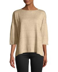 Lafayette 148 New York - Chain-striped Linen Sweater - Lyst