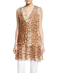 Agnona | Sleeveless V-neck Tiered A-line Cotton Blouse | Lyst