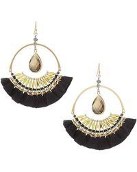 Nakamol - Crystal & Fringe Hoop Drop Earrings - Lyst