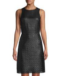 Leon Max - Sleeveless Rubberized Dress A-line Dress - Lyst
