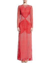 Akris - Sansusie Heart-embroidered Long-sleeve Evening Gown With Side Slits - Lyst
