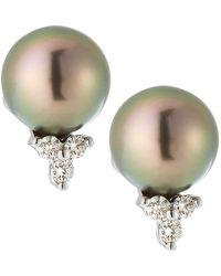 Belpearl - 14k White Gold Diamond Trio & Pearl Earrings - Lyst