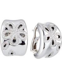 Roberto Coin 18k White Gold Fantasia Diamond Daisy Hoop Earrings